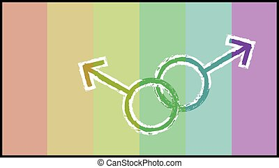 Muted rainbow with gey symbol background - Muted rainbow...