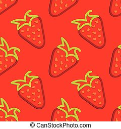 Strawberry Seamless Pattern Kid's Style Hand Drawn