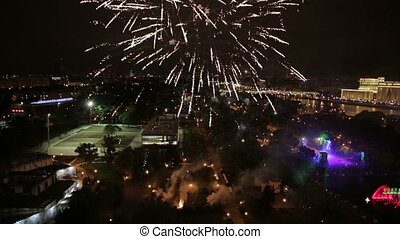 Night view and firework at Moscow city, Russia