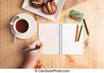 notepad - Notebook and sticky paper, paper clip, color...