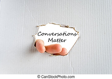 Conversation matter text concept - Hand and text concept on...