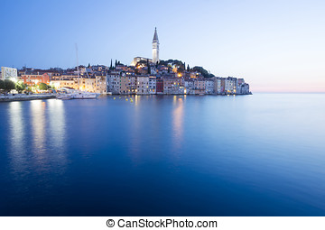 Sunset in old town of Rovinj - A view of the old city core...