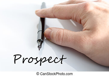 Prospect text concept - Pen in the hand isolated over white...