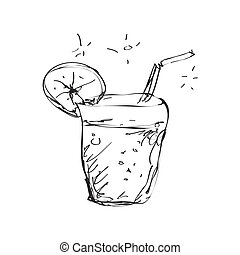 Simple doodle of a cool drink - Simple hand drawn doodle of...