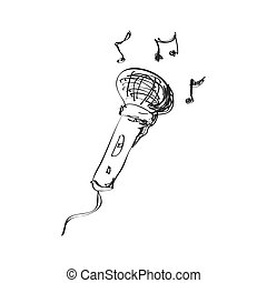 Simple doodle of a microphone - Simple hand drawn doodle of...