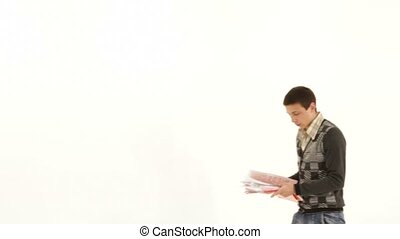 Office Worker Threw Up Documents. - SLOW MOTION. A young man...