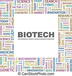 BIOTECH. Background concept wordcloud illustration. Print...