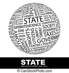 STATE Concept illustration Graphic tag collection Wordcloud...