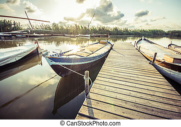 fishing boat in Albufera, Valencia, Spain