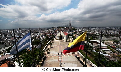Guayaquil Flags and Church - Cityscape of Guayaquil, Ecuador...
