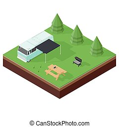 Camping RV outdoor vacation isometric icon set vector...