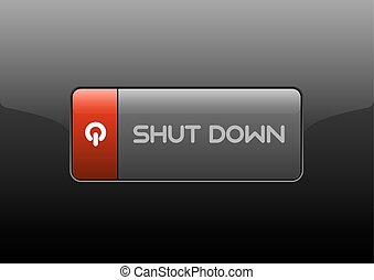 Shut Down Button - Shut down button on the black background...