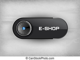 E-Shop Button - Futuristic buttons E-SHOP with diod. Vector...