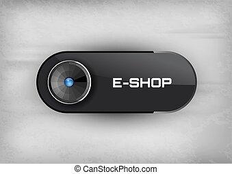 E-Shop Button - Futuristic buttons E-SHOP with diod. Vector...