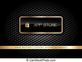 Gold Button - Gold button on the luxury black background....