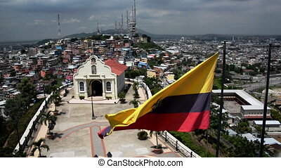 Guayaquil Flag and Church - Ecuadorian flag waving in front...