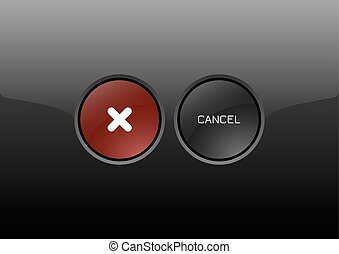 Cancel Buttons - Two circles as modern glossy buttons CANCEL...