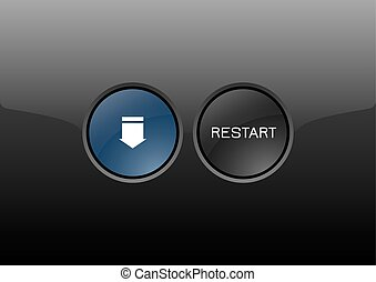 Restart Button - Elegant buttons from glossy material....
