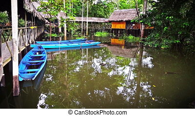 Canoes and Jungle Lodge - Canoes docked at a lodge in the...