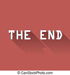 "THE END - White text ""The End"" with long shadow on the red..."