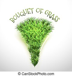 Grass Bouquet - Green bouquet of grass Vector elements