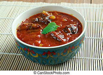 Laal maans - meat curry from Rajasthan, India mutton curry...