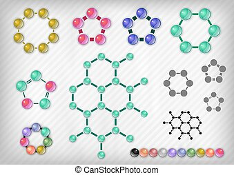 Chemist Set - Chemist elements on the grey background Vector...
