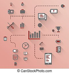 Set Of Icons - Flat design illustration. Vector infographic...