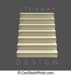 Stairway - Vector stairway on the gray background. Design...