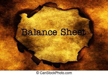 Balance sheet on grunge background