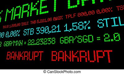Stock ticker reads bankrupt