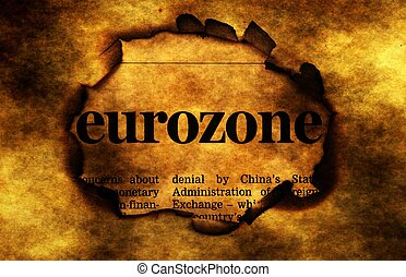 Eurozone on burning paper hole
