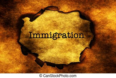Immigration text on burning paper hole