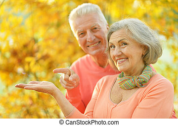 couple relaxing in autumn park - Happy senior couple...