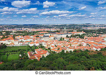 Prague from above - skyline of Prague old town from above,...