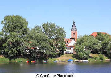 City-island in Havelberg with St Lawrences Church - The...