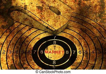 On line grunge  market target concept
