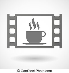 35mm film frame with a cup of coffee - Illustration of a...