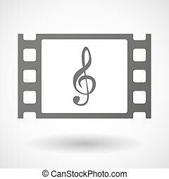 35mm film frame with a g clef - Illustration of a 35mm film...