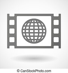 35mm film frame with a world globe