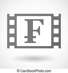 35mm film frame with a swiss franc sign - Illustration of a...