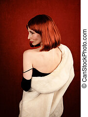 Socialite with brassy red hair - Socilalite with fur coat...