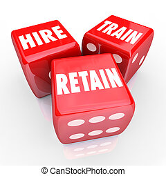Hire Train Retain 3d Red Dice Employment Human Resources...