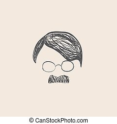 Human hair and mustache sketch