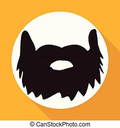 Icon beard on white circle with a long shadow