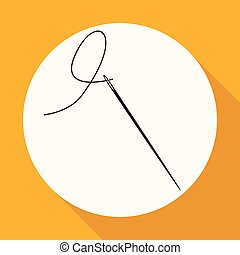 Icon Needle on white circle with a long shadow