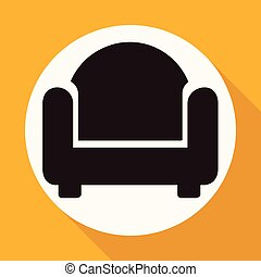 Icon chair on white circle with a long shadow
