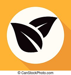 Icon leaf on white circle with a long shadow
