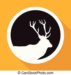 Icon Deer on white circle with a long shadow
