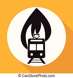 Icon fire warning on white circle with a long shadow